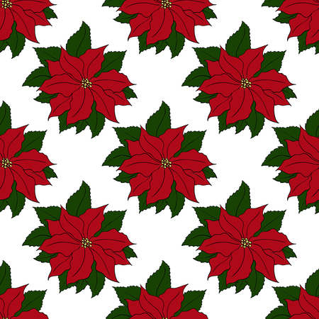Christmas and new year seamless pattern template with hand drawn Poinsettia flower on a white background