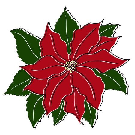 Vector poinsettia in vintage, retro style for your designs
