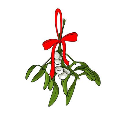 Christmas mistletoe branches design.
