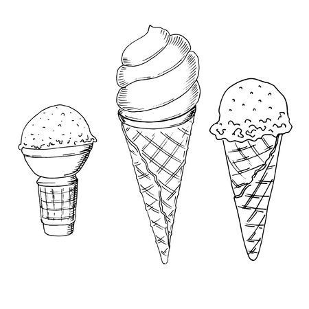 Set of hand drawn sketch style ice cream. Ice cream cone.