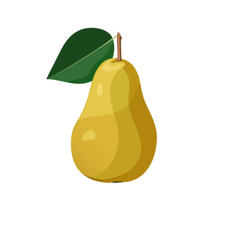Yellow pear on white background vector illustration