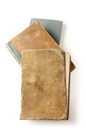 Three old books. Two books are over one hundred years old. Aged leather covers. Archivio Fotografico