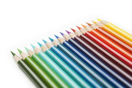 Color pencils close up with shallow depth of field. Banco de Imagens