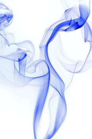 Blue smoke wisp rising against  white background Stock Photo