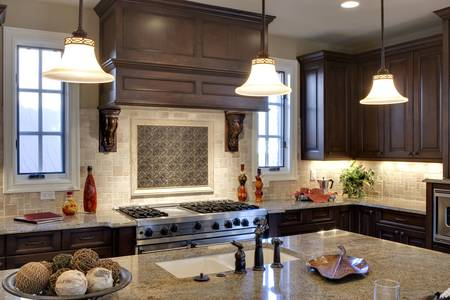 custom home: Luxury kitchen with granite counter tops