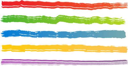 Reeks van vijf ruwe kleur penseel streken. Elke vector penseel streek op onafhankelijke laag voor eenvoudig gebruik en scheiding.