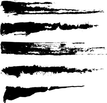 stroke: Set of five rough inky brush strokes. Each vector brush stroke on independent layer for easy use and separation.