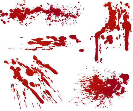 Five red splatters. Each isolated on independent layer in file for easy use.