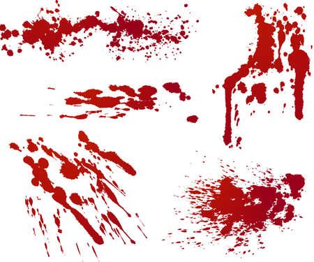 blutspritzer: F�nf rote spritzt. Jedes isoliert auf unabh�ngige Ebene in Datei f�r einfachen Gebrauch.