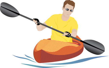 Semi-realistic kayaker on white background with orange kayak and small blue wake. Vector illustration.
