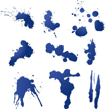 Nine individual layers of ink splatters. Each splatter entirely adjustable for color fill or gradient. Vector
