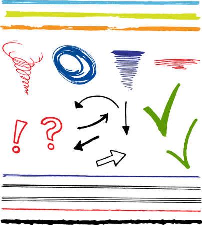 落書き、落書き、矢印、線とハイライトの記号。