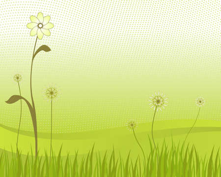 half tone: Flower and Grass with Gradient and Half Tone Pattern