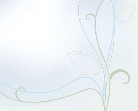 green swirl: Spring season vector of stems and leaves on blue green background and copy space in upper left.