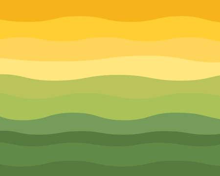 Green and Yellow Wavy Horizon Vector