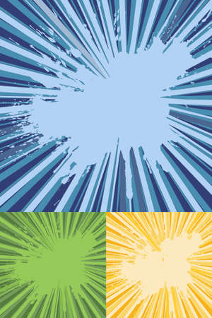 Three layer separate sunburst rays with splatter texture vector with center space for copy or text. Vector