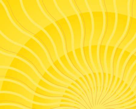 Bright yellow wavy sun ray light burst vector Vector