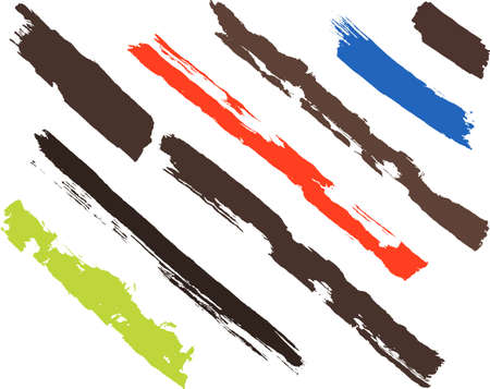 Set of eight brush strokes. Each vector brush stroke on independent layer for easy use and separation Vettoriali