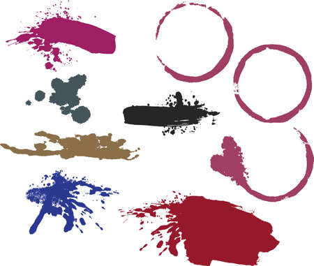 Wine ring stains, messy brush strokes and splatters Vector