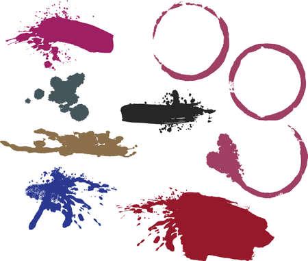 Les taches de vin anneau, traits de pinceau désordonné et splatters