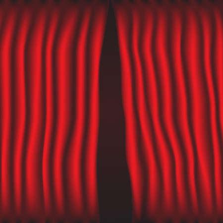 赤いカーテンは部分的にベクトルを分けた。  イラスト・ベクター素材