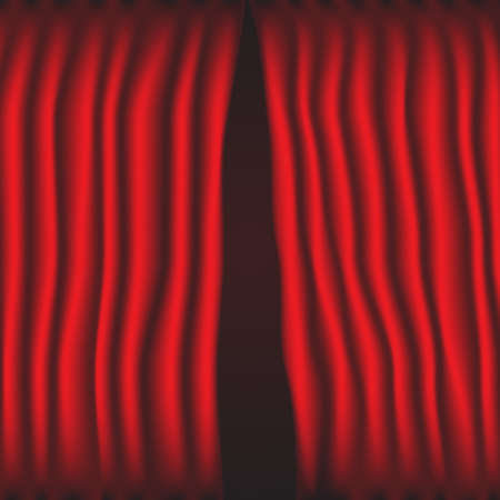 Red curtain partially parted vector. Vector