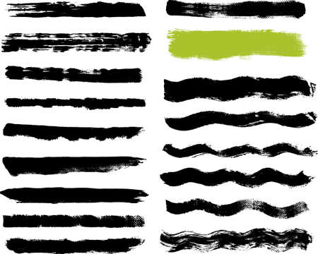 vector waves: 17 Real Brush on Canvas Strokes