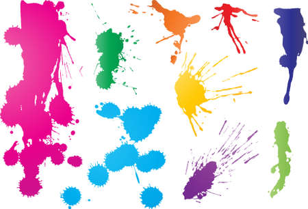 Nine vibrant color graffiti paint splatters Vector