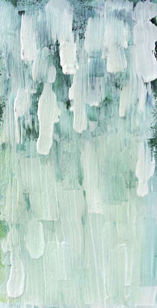 Blue and green grunge background with clearly defined white brush strokes over top that fade into white green