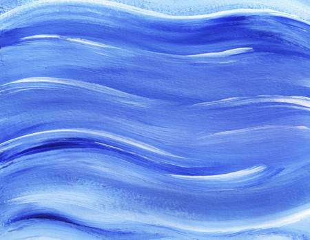 Blue painted waves in acylic with highlights of white