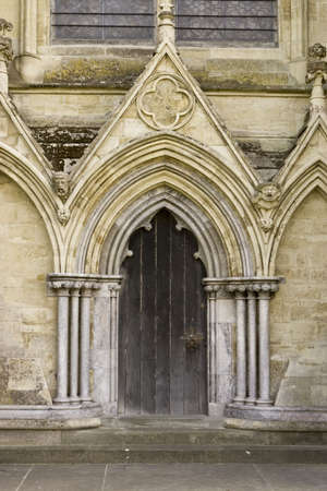 Close up of Salisbury Cathedral entry photo