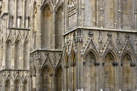 Close up view of arches and wall of York Minster