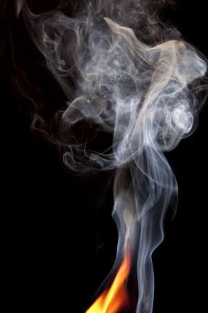 Close up of orange flame and large puff of smoke photo