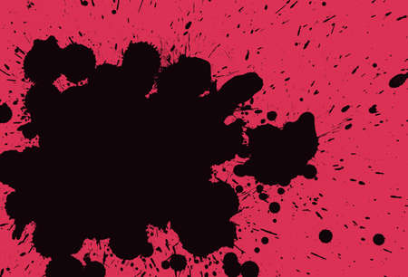 ink stain: Black ink and paint blots on bright pink background