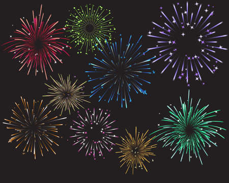 Celebration Fireworks and Colors Vector