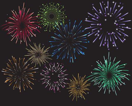 Viering Vuurwerk en Kleuren Stock Illustratie
