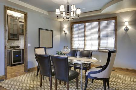 angled view: Angled view of contemporary dining room