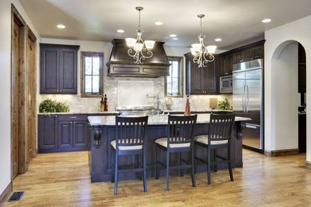 angled view: Angled view of luxury kitchen Stock Photo