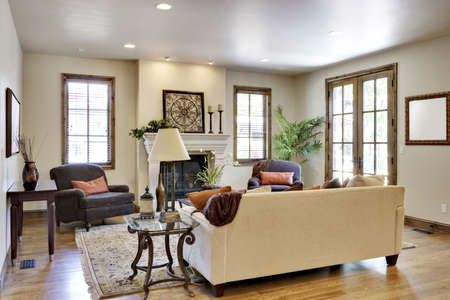 designer: Wide angle of great room  living room Stock Photo