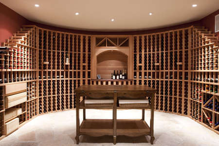 Expansive wine cellar and bottle shelves Reklamní fotografie