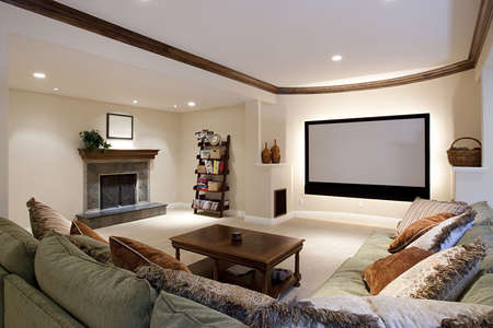 home theatre: Wide angle of theater room Stock Photo