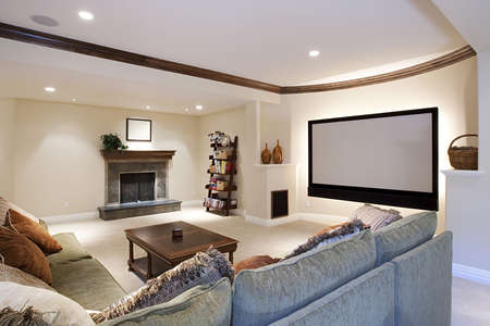 contemporary: Wide angle of theater room Stock Photo