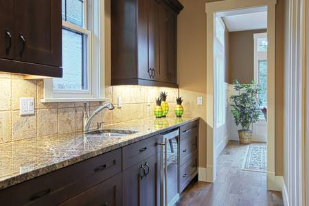 Luxury kitchen with granite countertops photo