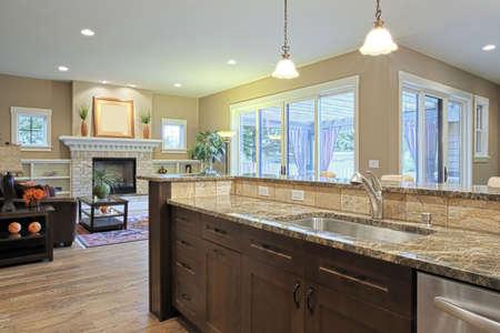 sink: Luxury kitchen with granite countertops