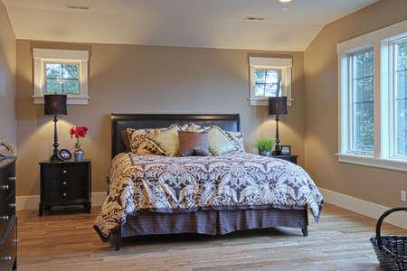 広い寝室ユニークな天井と窓。