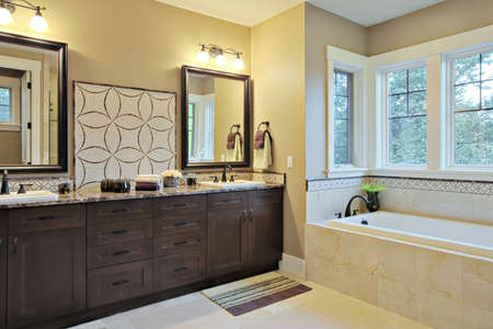 bathroom design: Luxury bathroom with granite countertops and flooring