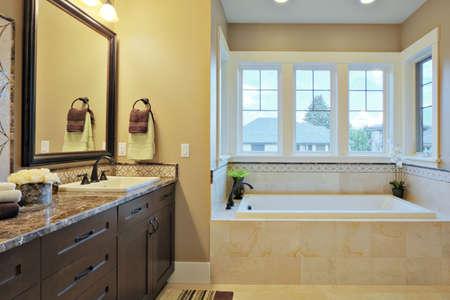 piastrelle bagno: Bagno di lusso con ripiani in granito e pavimenti