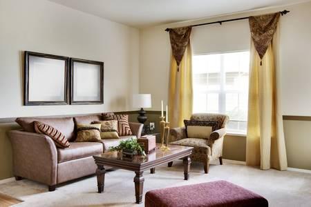 居心地の良いアパートのリビング ルームのソファ
