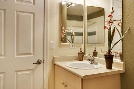 lavabo salle de bain: Vue du lavabo et porte Banque d'images