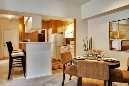 condominium: Apartment dining area with kitchen and dining table in view.
